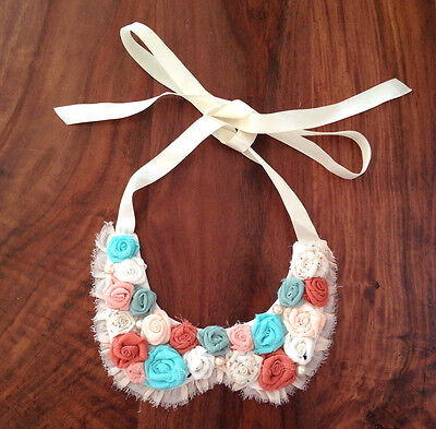 - Handmade Bib Statement Necklace Rose Flower Chiffon Silk Peter Pan Ribbon Tie