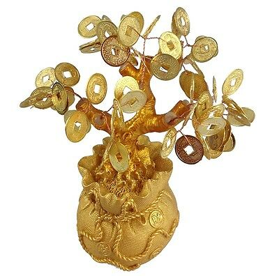Feng Shui Glücksbaum 17 cm Geldbaum Bonsai Pfennigbaum Handarbeit gold