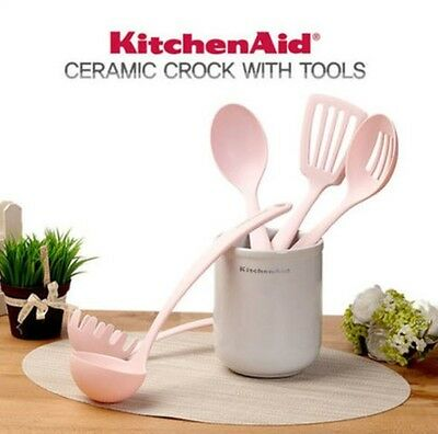 Kitchen Aid KC560BXPKA White Ceramic Crock With Pink Tools 6 PC Set PINK Edition