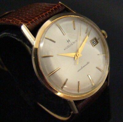 Vintage SOLID 14K Gold HAMILTON HUGUENIN 21j AUTOMATIC Wrist WATCH Swiss RARE