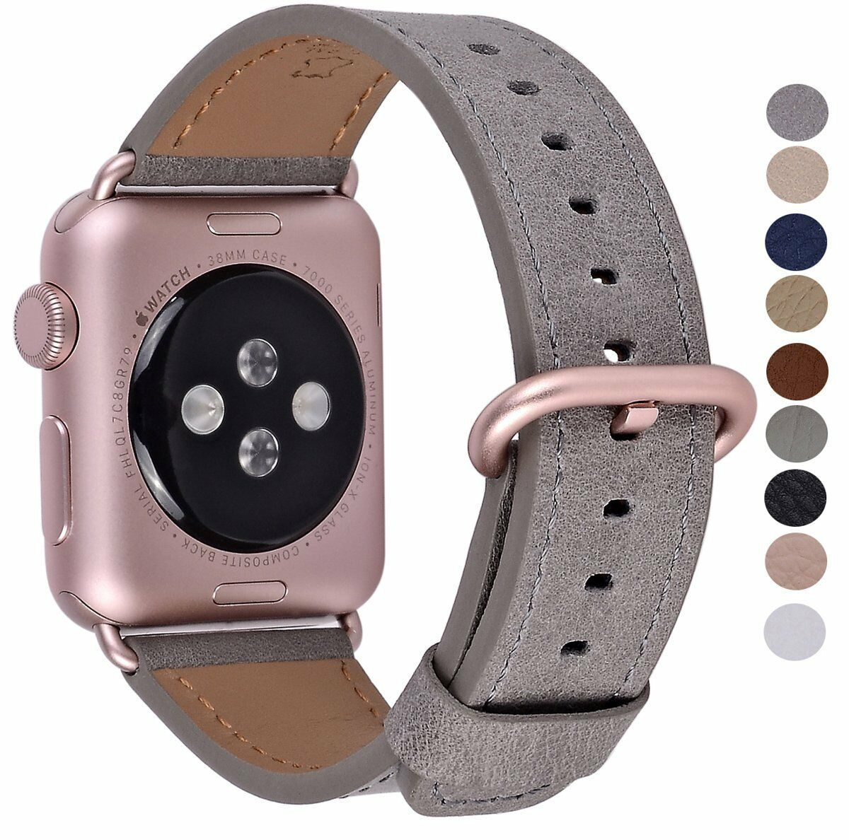 Apple Watch Band 38mm Rose Gold Metal Clasp Genuine Leather