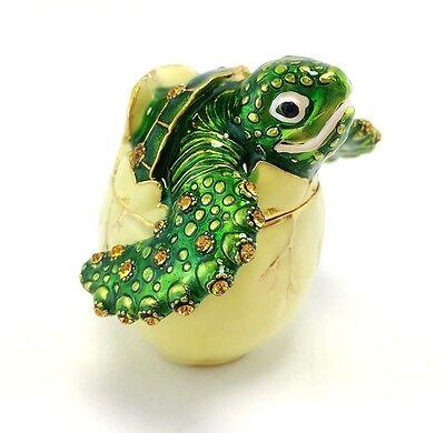 Turtle in Egg Fish Jewelry Trinket Box Decorative Collectible Sea Fun Gift 02060