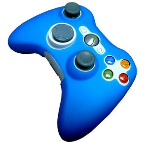 RARE DARK BLUE SILICONE SKIN CASE COVER for XBOX 360 CONTROLLER