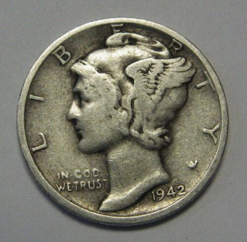 1942-S Mercury Head Silver Dime in Average Circulated Condition  DUTCH AUCTION