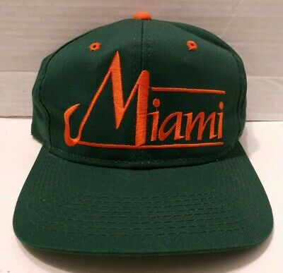 Miami Hurricanes Vintage The Game Green Script Adjustable Snapback Hat Cap ()