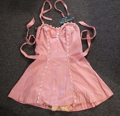 NOS vtg retro womens one piece pink swimsuit par-form sz38 hollywood pin-up glam