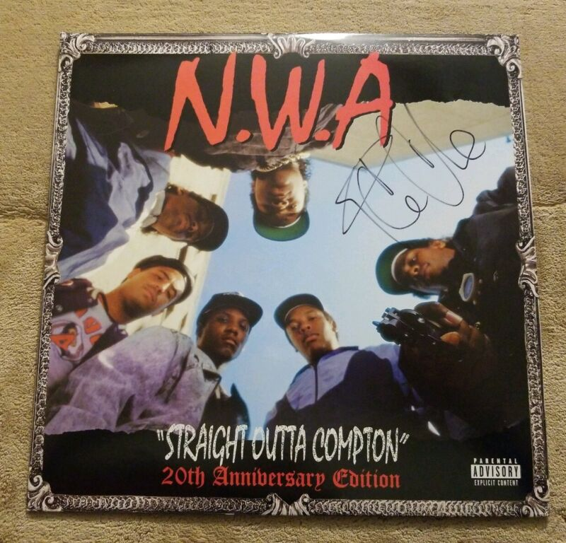 ICE CUBE SIGNED AUTOGRAPHED NWA STRAIGHT OUTTA COMPTON ALBUM VINYL LP EXACTPROOF