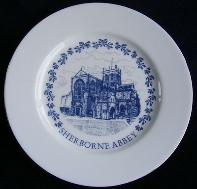 Building Blocks Gifts 19.5cm Blue and White Plate: Sherborne Abbey - See Photos