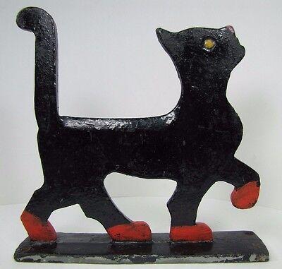 Antique Cast Iron Cat Boot Scraper figural Art Doorstop strutting kitty kat htf