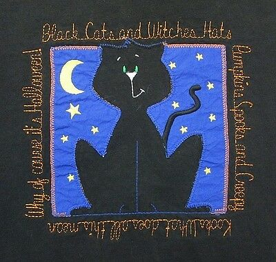 Halloween Women's T-Shirt M Black Cats and Witches Hats Stitched Poem Moon Stars