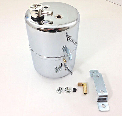 Chrome Vacuum Canister Reservoir Brake Booster Can with Check Valve and (Brake Booster Valve)
