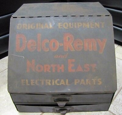 Old DELCO - REMY Electrical Parts Cabinet ac gm ford auto repair garage gas