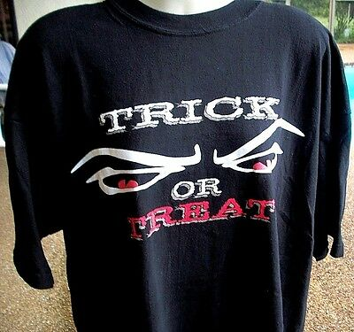 Halloween Trick Or Treat Easy Costume T Shirt Extra Large Black Scary Big - Easy Halloween Treat