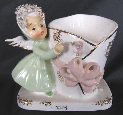 Napco May Angel Girl Planter Figurine, Spaghetti Gold, Month Harvest, Japan