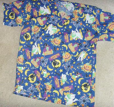 Apples size M nurse scrub top Halloween spiderwebs hiss cats busy print GUC - Cute Halloween Cat Kostüm