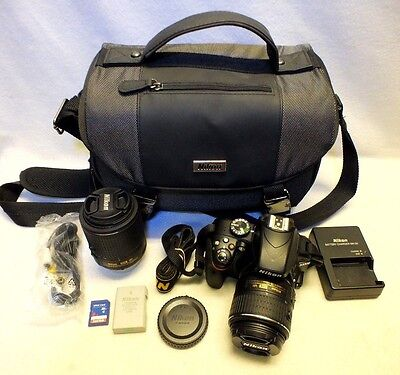 Nikon D D3300 24.2 MP Digital SLR Camera - Black (Kit w/ 2 Lenses)
