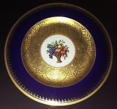 10 75  Gorgeous Cobalt Blue Black Knight Service Dinner Plate Gold Encrusted  5