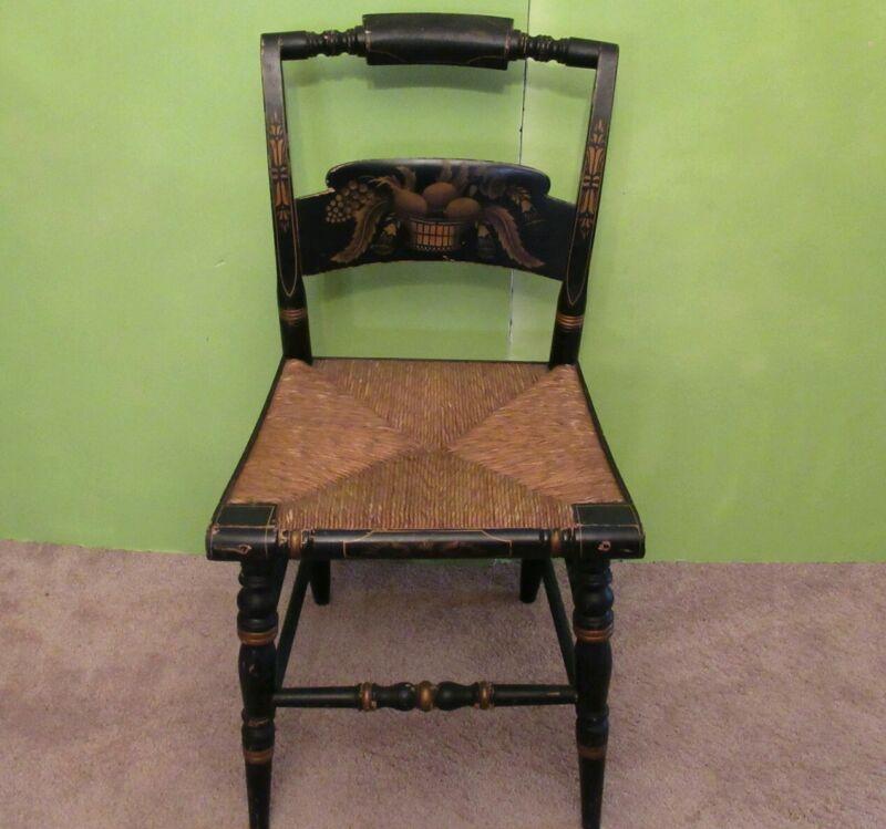 L HITCHCOCK Black Harvest Turtle Back Stenciled Side Chair original backward NN
