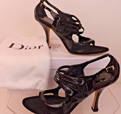 NIB CHRISTIAN DIOR BLACK PATENT LEATHER SUEDE STRAPPY HEEL PUMPS SANDALS 41