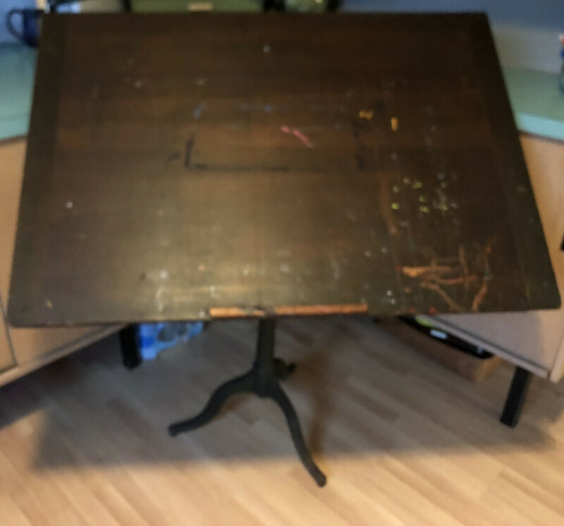 Antique drafting table Solid Wood top cast iron artist drawing stand vintage