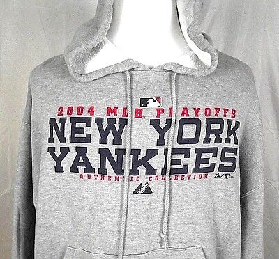 New York Yankees Hoodie Mlb 2004 Playoffs Size Xl Majestic Authentic