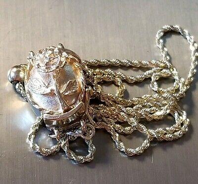 LONG Vintage 14K Yellow Gold Kolber Slide Bracelet Flower Rose Charm Holder