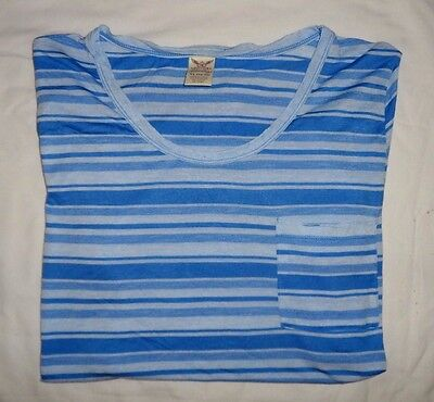 MUJER Camisas de Rayas Azules 1/2 Manga Talla XG- XL (16-18) Camiseta...
