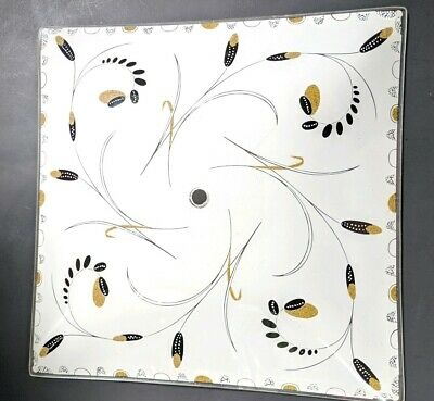 Vintage Mid Century Square Frosted Glass Ceiling Light Shade Gold Black Atomic