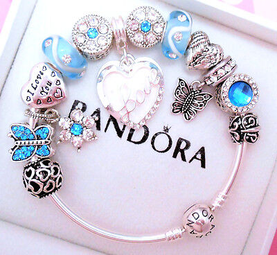Authentic Pandora Silver Bangle Charm Bracelet Love With Crystal European Charms