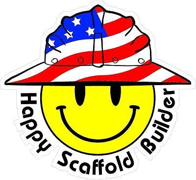3 - Happy Scaffold Builder Smiley Usa Hardhat Oilfield Helmet Toolbox Sticker H
