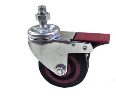 3 Swivel Bolt Hole Castor Braked Castor Wheels Trolley Furniture Caster 4pcs