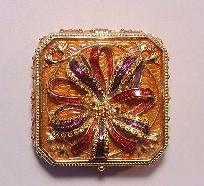 Joan Rivers Gold Tone Rhinestone Enamel Present BOW Trinket Box Jewelry Box