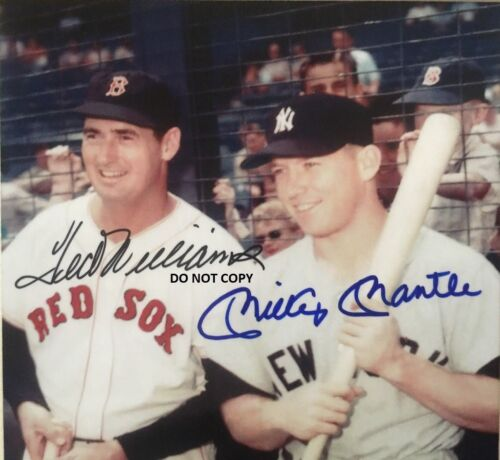MICKEY MANTLE TED WILLIAMS 8X10 AUTHENTIC SIGNED AUTOGRAPH REPRINT PHOTO