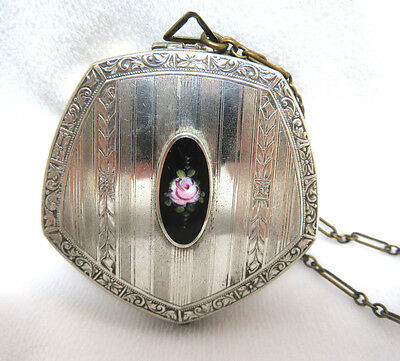 Antique Silver w/ Guilloche Enamel Powder & Rouge Dance Chatelaine Compact