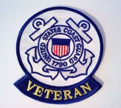 "United States Coast Guard Veteran Patch Sewn on or Iron on 3 1/2 "" L x 3"" W"