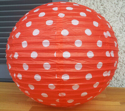 Lampenschirm Lampion Papier Laterne 40cm Schirm Lampe Tupfen Polka Dots Rot ()