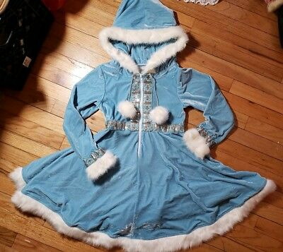 Rare Chasing Fireflies Enchanting Eskimo Costume kids girl size 12 blue fur hood