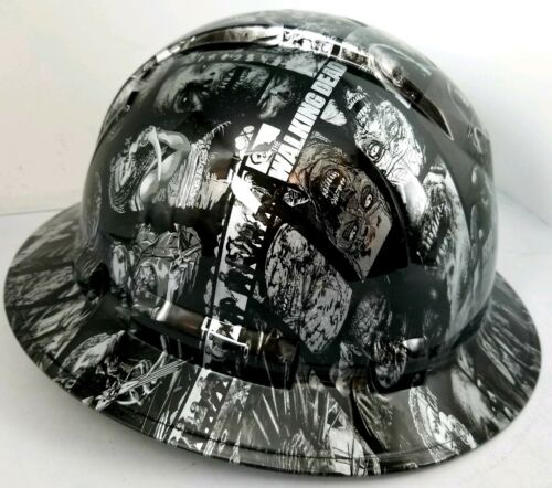 FULL BRIM Hard Hat custom hydro dipped SILVER N BLACK WALKING DEAD ZOMBIE SICK 1