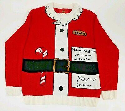 Ugly Tacky Christmas Sweater Medium Santa Naughty List Red Long Sleeve Pullover ()