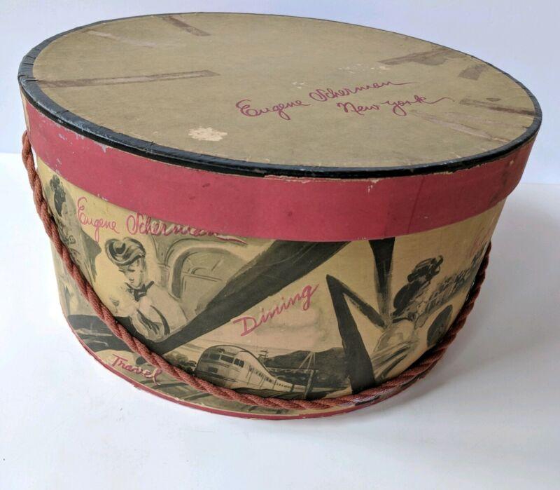 "Vintage Eugene Scherman Millinery Hat Box 12.75"" diameter With Beautiful Graphic"