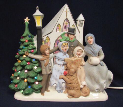 VTG 1960s ATLANTIC MOLD CERAMIC CHRISTMAS CAROLERS LIGHT UP MUSICAL DECK HALLS