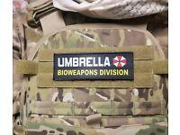 "3x8/"" UMBRELLA CORP BIOWEAPONS DIVISION Black Hook  Resident Evil Morale Patch"