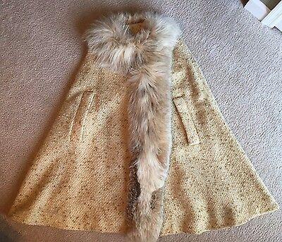 Vintage Ivory Cream Boucle Wool Cape Poncho Coat FOX FUR Shawl Collar Trim Med