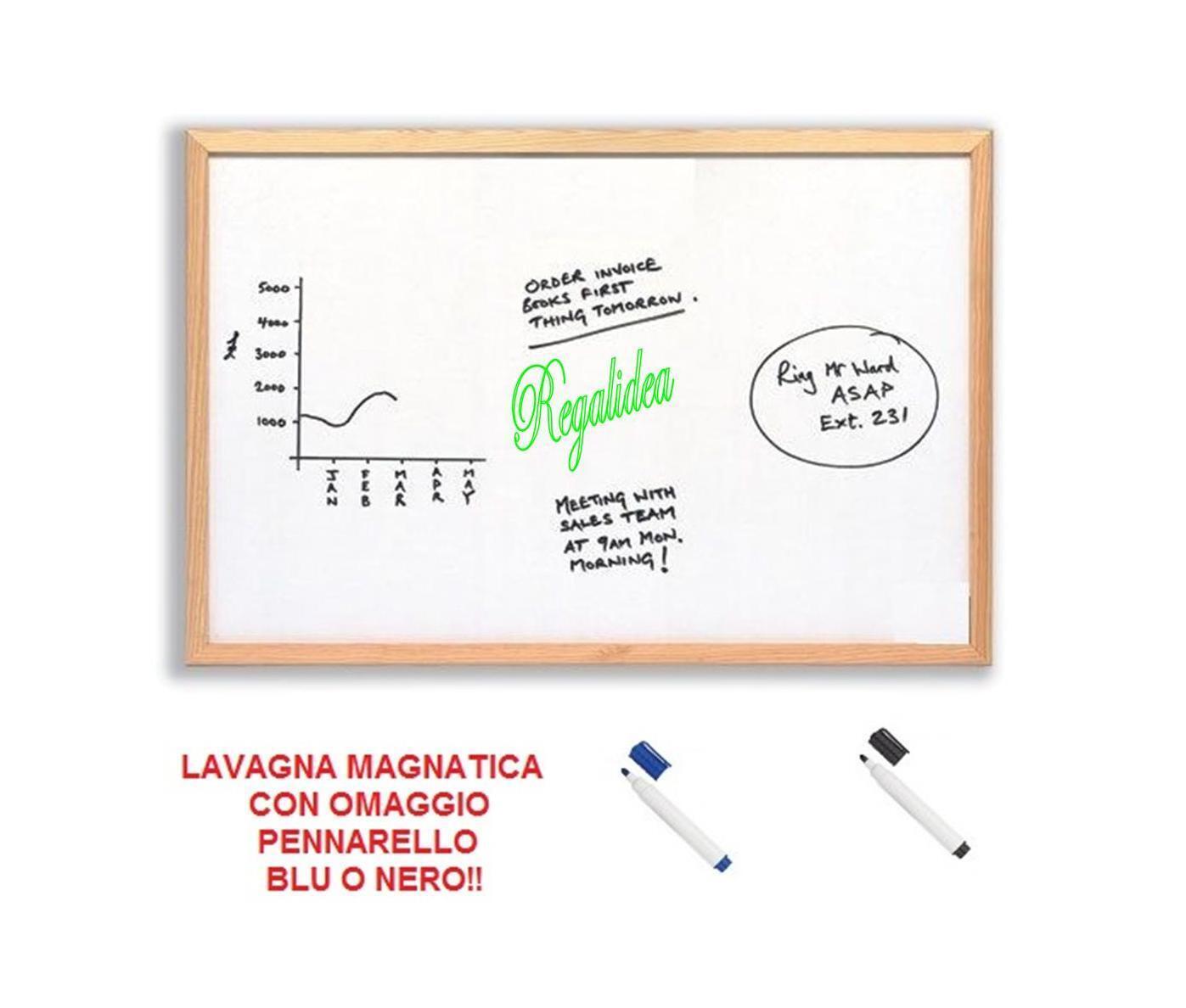 LAVAGNA MAGNETICA BIANCA BACHECA VARIE MISURE CORNICE LEGNO CANCELLINO + OMAGGIO