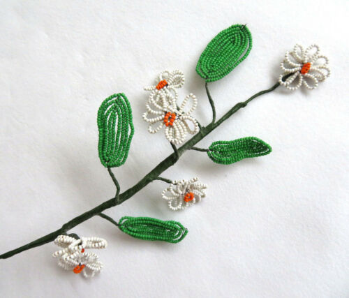 Vintage Long Stem French Glass Hand Beaded Wire White & Orange Daisy Flowers