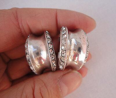 Art Deco Sterling Silver Old Cut Crystal Hoop Earrings Screw Backs