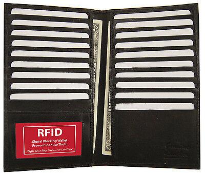 RFID Block Safe Wallet Leather Bifold 19 Credit Card ID Checkbook Holder Black