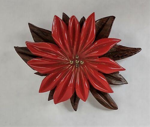 Vintage Bakelite Scarf/Dress/Fur Clip - Red Poinsettia Flower on Brown Base
