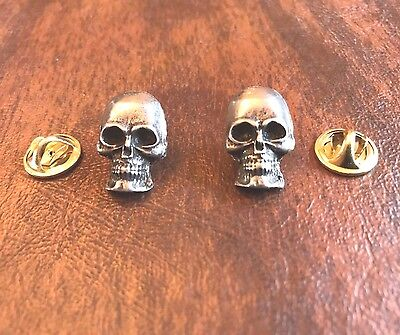 HIS & HERS MOTORCYCLE BIKER JEWELRY 2 SKULL PEWTER PINS ALL NEW.