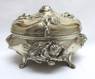 Art Nouveau Silver Plated Metal Jewelry Casket Trinket Box ~ Brainard & Wilson